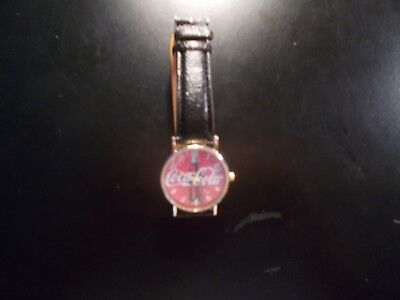 Coca Cola Quartz Wrist Watch - Red Face Black Band - Stainless Steel - Brand New