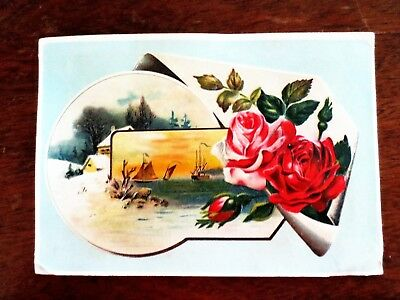 1800s Lion Coffee Woolson Spice Ohio Picture Trade Card Ships Roses Winter OH