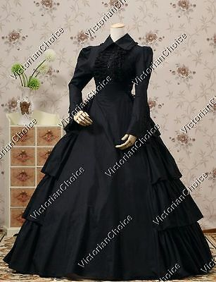 Victorian Fantasy Gothic Black Gown Dress Steampunk Theater Clothing N 007 XL
