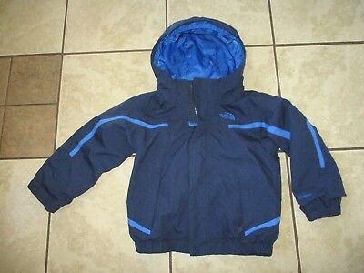 THE NORTH FACE HYVENT TODDLER Navy Blue Hooded RAIN JACKET Clean! Sz CHILD 4T