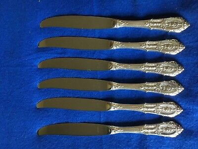 "Rose Point By Wallace Sterling Silver Flatware Set Of 6 Dinner Knifes 9"" Scrap ?"