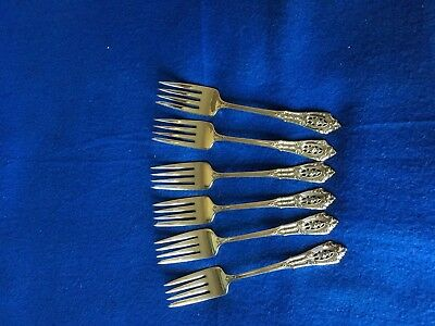 "Rose Point By Wallace Sterling Silver Flatware Set 6 Salad Forks 6 3/8"" No Scrap"