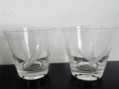 Two Blakely Gas Clear Cactus Etch Bar Glasses