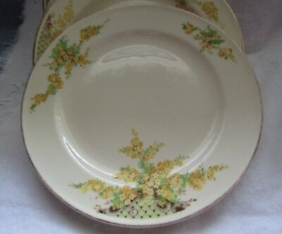 """Vintage Edwin M. Knowles 9-1/4"""" Dinner Plates Yellow Flowers  12 Pcs"""