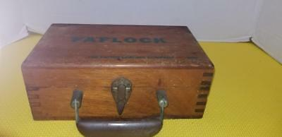 Antique Wood Finger Joint Box W Bakelite Handle Advertising