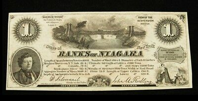 1860's Advertising Scrip One Unit Note - Choice Crisp AU - Banks of Niagara