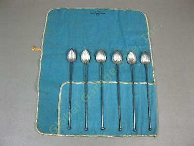 6 Vtg Wallace Sterling Silver Heart Shaped Ice Tea Mint Julep Straws Spoons Set