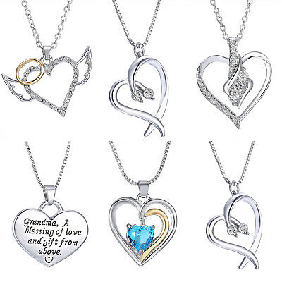 Summer Simple Heart Silver Crystal Chain Pendant necklace Women Jewelry New Hot
