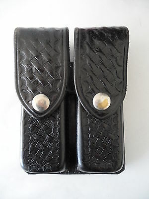 Don Hume D.407 Dual Magazine Holder Case Holster 820.A Black Leather Basketweave