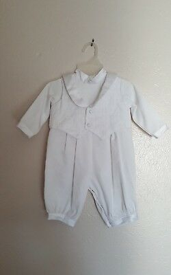 New Baby Boys White with Satin trim  Romper Suit Outfit Set Christening Baptism