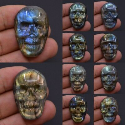 36-37mm Carved natural labradorite skull cab cabochon *each one picture*