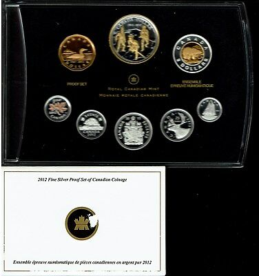 Canada 8-Coin Double Dollar Fine Silver Proof Set 2012 Gem In Case Nice