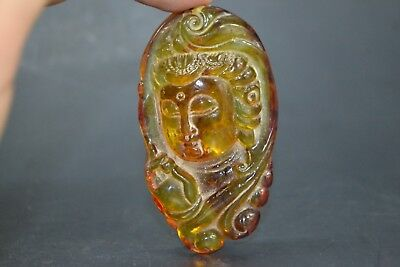 Chinese Collectible Old circle handwork amulet relief kwan-yin amber big Pendant