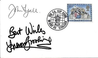 WEST HAM UNITED jOHN LYALL + TREVOR BROOKING HAND SIGNED 1980 FA CUP FINAL FDC