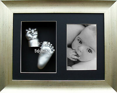 3D Baby Casting Kit Hand Foot Feet Antique Silver Display Frame New Unique Gift