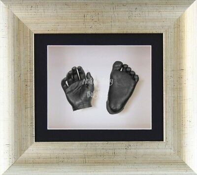 New BabyRice 3D Baby Casting Kit Set Antique Silver Frame Pewter Foot Hand Casts