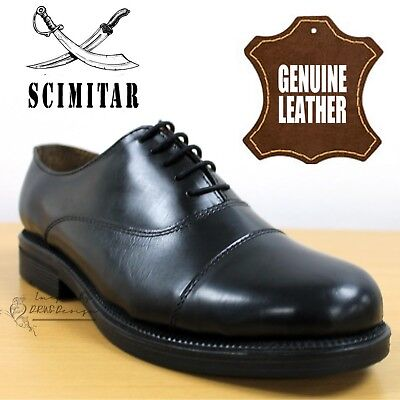 Scimitar Parade Men's Capped Oxford Cadet Boots Black Leather School Dress Shoes