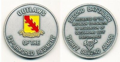 Coin US Army 2nd Battalion, 32nd Armor, silber/farbig, FRIEDBERG
