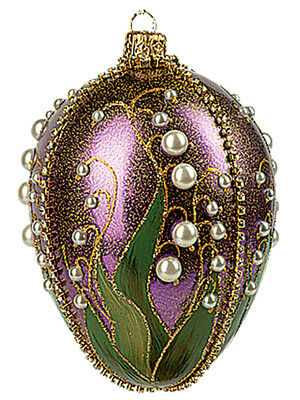 Faberge Inspired Purple Lilies of the Valley Egg Polish Glass Christmas Ornament
