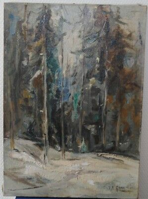 Tableau Paysage Forestier Enneigé Huile sign JB Grancher 1911-1974 Coll Brousse
