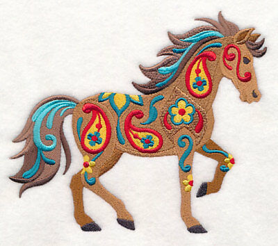 Embroidered Short-Sleeved T-Shirt - Flower Power Horse M9149 Sizes S - XXL