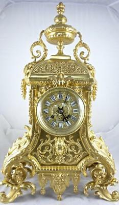 Superb XL Antique 19th c French Solid Gilt Ormolu Bronze Mantel / Table clock
