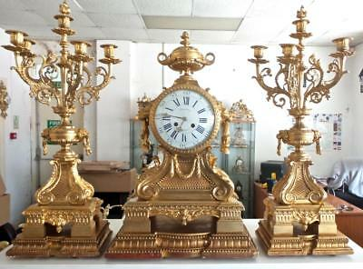 Huge Spectacular XL Antique 19th c French Gilt Ormolu Bronze Mantle Clock Set