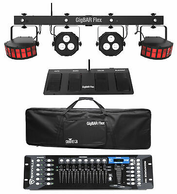 Chauvet DJ GigBAR Flex Lighting System w/Derby+Par Lights+Footswitch+Controller