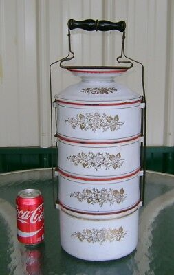 Huge Original Vintage European Enamelware Floral Decorated Tiffin Meal Carrier