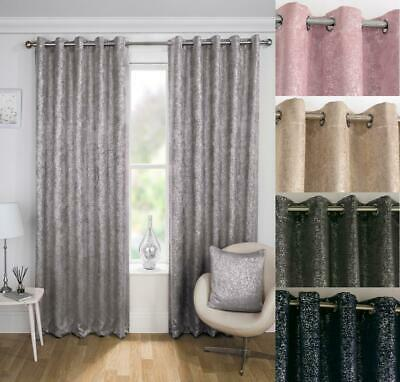 One Pair Of HALO Shimmer Sparkle Thermal Block Out Eyelet Curtains