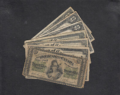 1870 - 1923 Dominion Of Canada 25 Cents Bank Note Lot Of 7