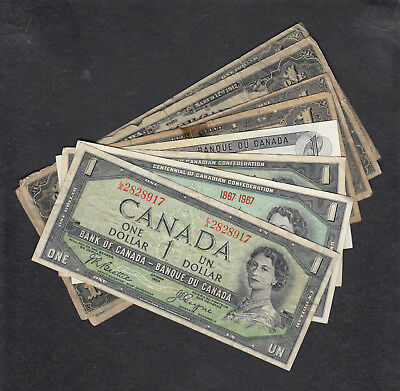 1917 - 73 Canada 1 Dollar Bank Note Lot Of 8