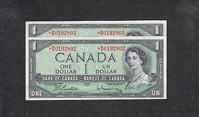 1954 Canada 1 Dollar Replacement Bank Note Consecutive X2