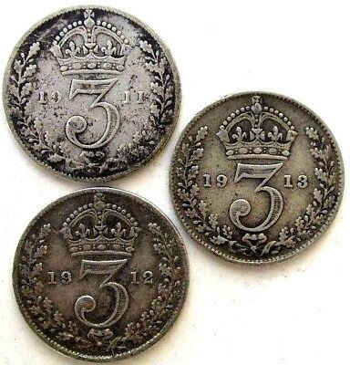 Great Britain Uk Coins, Threepence 1911 & 1912 & 1913, George V, Silver 0.925