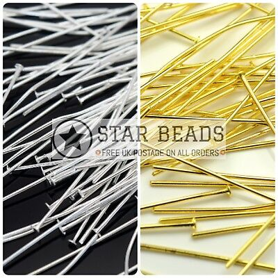 200 X Silver / Gold Plated Metal Headpins Jewellery Making - Pick Size