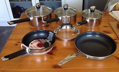Tefal Emotion Stainless Steel Induction  Pan Set Five Pans plus Four Lids