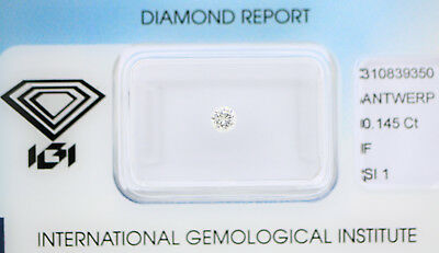 Diamant 0,145ct F SI1 IGI Zertifikat Sealed