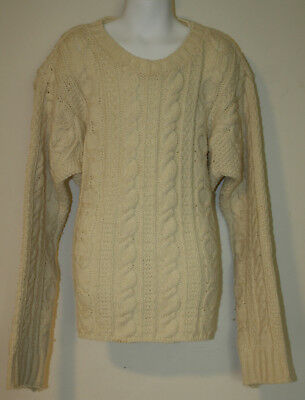 """INIS CRAFTS Ivory Cable Knit Merino Wool Fishermans Sweater Youth M 38"""" chest"""