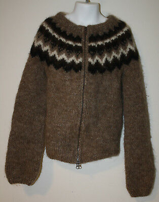 "Handknit ICELAND Wool Sweater Kids Children Boys Girls Brown White 28"" chest"