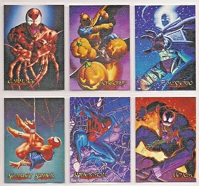 Spiderman Premium 1996 Eternal Evil Complete 6 Card Canvas Chase Set Nm/Mint  BY