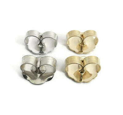 Jumbo Earring Backs, Push Back Butterfly, 14K White Gold or 14K Yellow Gold