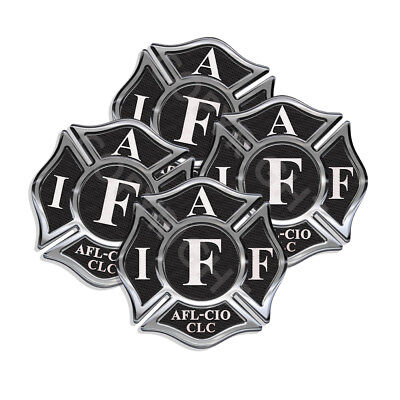 """IAFF Sticker Decals 4 pack Firefighter Int'l Maltese Cross 2"""" wide Black White"""