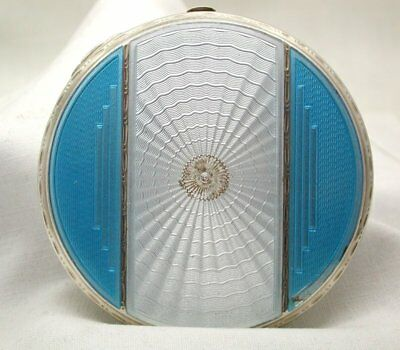 1930's Lovely Art deco Solid Silver And Guilloche Enamelled Powder Compact