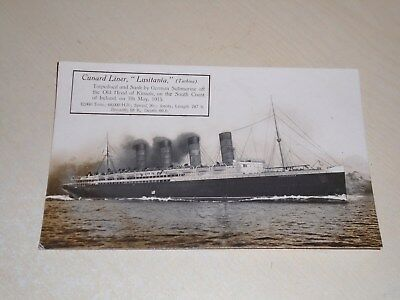 """Early Real Photo Postcard - Cunard Liner """"lusitania"""" - Sunk 1915 - Vgc"""