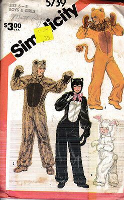 Vintage Simplicity Sewing Pattern #5739 Boys & Girls Size 6-8 Animal Costumes