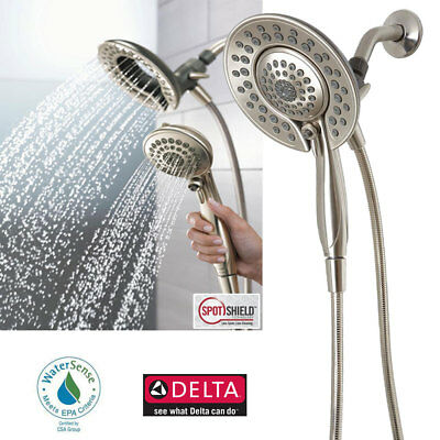 Delta In2ition 5 Function Handheld Dual Shower Head 2 In 1, Brushed