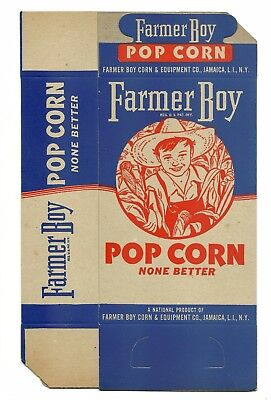 Popcorn Box Vintage 1930's Farmer Boy Corn & Equipment Co. N.Y. Unused Ephemera