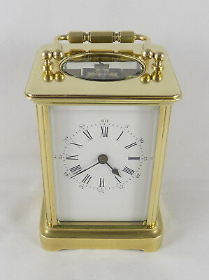 Antique Carriage Clock - French - Brass - 8 Day - Cleaned And Serviced