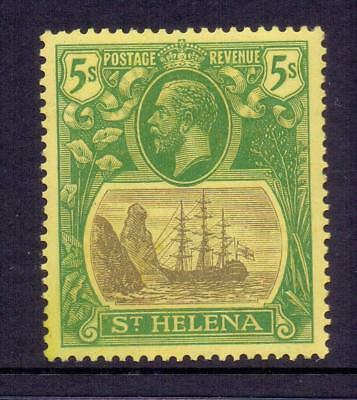 ST.HELENA KGV SG110 5s Grey and Green on Yellow on Ship Fine MINT Cat £45