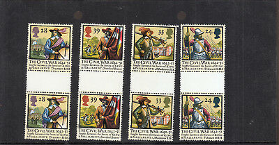 1992 350Th Anniversary Civil War Gutter Pairs Umm/mnh Sg1620-Sg1623